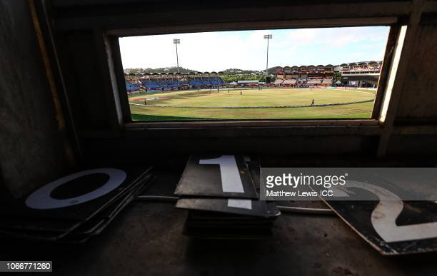 A general view of the Darren Sammy Cricket Ground from the scoreboard during the ICC Women's World T20 2018 match between England and Bangladesh at...