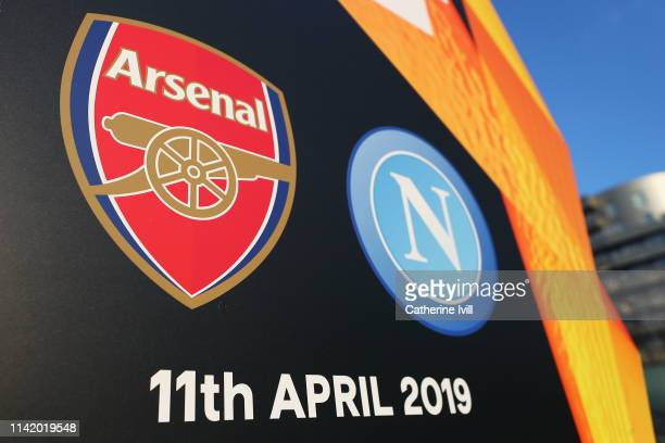 A general view of the date and teams logos prior to the UEFA Europa League Quarter Final First Leg match between Arsenal and SSC Napoli at Emirates...