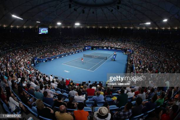 A general view of the David Goffin of Belgium against Rafael Nadal of Spain quarter final singles match during day eight of the 2020 ATP Cup at Ken...
