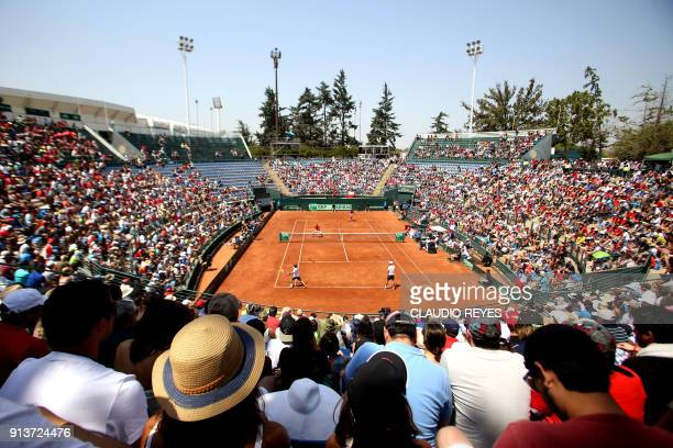 General view of the Davis Cup doubles tennis match between Chilean players Nicolas Jarry and Hans Podlipnik and Ecuadorean players Roberto Quiroz and...