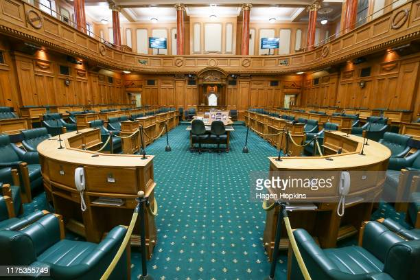 General view of the debating chamber inside Parliament House at Parliament on September 18, 2019 in Wellington, New Zealand.