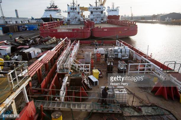 General view of the deck of the decommissioned ship Lismore in Leith's Imperial Dry Dock on January 25 2018 in Leith Scotland The Scottish Government...