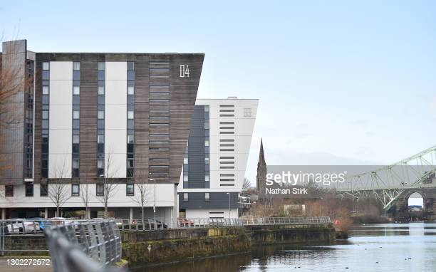 General view of The Decks residential complex which has aluminum cladding material on February 15, 2021 in Runcorn, England. Building management and...