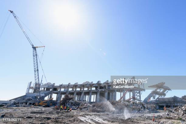 General view of the deconstruction of Deans Stand as a concrete pillar is knocked down during a media tour of Lancaster Park on September 10 2019 in...