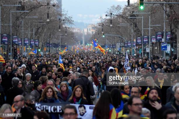 General view of the demonstrators during a general strike in the streets of Barcelona to demand freedom human right and against the trial of the...