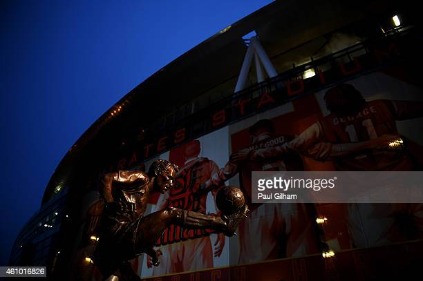 A general view of the Dennis Bergkamp statue outside the stadium before the FA Cup Third Round match between Arsenal and Hull City at Emirates...