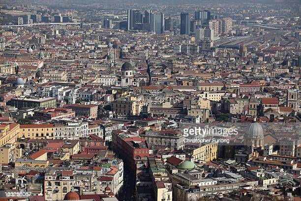 A general view of the densely populated city of Naples on November 18 2011 in Naples Italy Italy's new Prime Minister Mario Monti and his new cabinet...