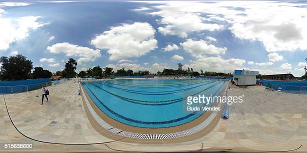 General view of the Deodoro Aquatics Centre during the Modern Pentathlon Tournament Aquece Rio Test Event for the Rio 2016 Olympics at Deodoro...