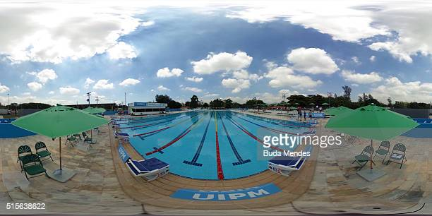 General view of the Deodoro Aquatics Centre during the Modern Pentathlon Tournament Aquece Rio Test Event for the Rio 2016 Olympics at Deodoro...