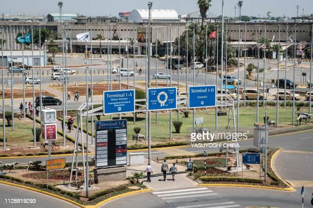 A general view of the departure terminals during a strike by Kenya Airway's workers at the Jomo Kenyatta International Airport in Nairobi on March 6...