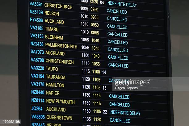 A general view of the departures board at Wellington Airport after numerous flights were either delayed or cancelled by a large storm on June 21 2013...