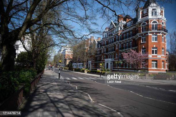 A general view of the deserted Abbey Road pedestrian crossing on March 24 2020 in London England British Prime Minister Boris Johnson announced...