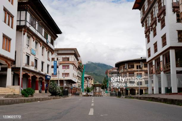 General view of the deserted Norzin Lam road, Bhutan's capital main artery, during a government imposed nationwide lockdown as a preventive measure...