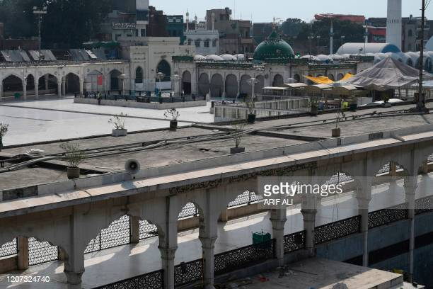 General view of the deserted Shrine of Saint Syed Ali bin Osman Al-Hajvery, popularly known as Data Ganj Bakhshin, closed amid concerns over the...
