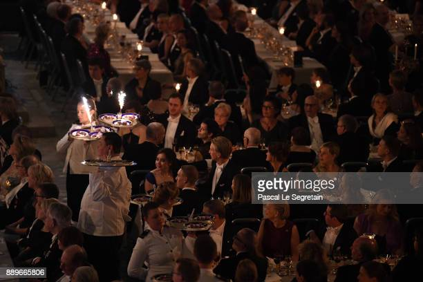 General view of the dessert parade during the Nobel Prize Banquet 2017 at City Hall on December 10 2017 in Stockholm Sweden