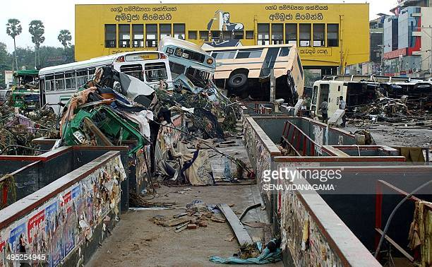 A general view of the destroyed central bus terminal in Galle some 125 kms south of the Sri Lankan capital Colombo 27 December 2004 after tsunami...