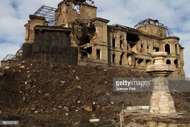 A general view of the destroyed remains of the Darulaman Palace or Royal Palace January 29 2010 in Kabul Afghanistan The Darulaman Palace which was...