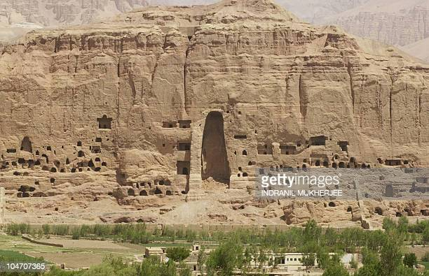 A general view of the destroyed site of the historic Buddha statue in Bamiyan 18 May 2002 A meeting is scheduled later this month in Afghanistan's...