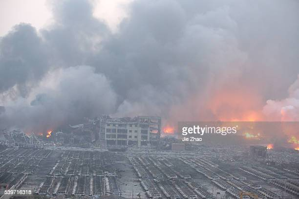 General view of the destruction after explosions in the port area in Tianjin, northern China, 13th August 2015. 17 people were killed and another 283...