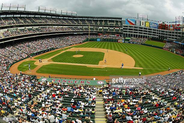 A general view of the Detroit Tigers and Texas Rangers during play at Ameriquest Field in Arlington on May 9 2004 in Arlington Texas The Tigers...