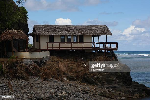 General view of the devastation of the destroyed Seabreeze resort following the 8.3 magnitude strong earthquake which struck 200km from Samoa's...