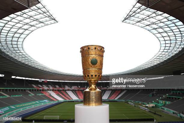 General view of the DFB Cup winners Trophy ahead of the DFB Cup Final 2020 match between Bayer 04 Leverkusen and FC Bayern Muenchen at Olympiastadion...