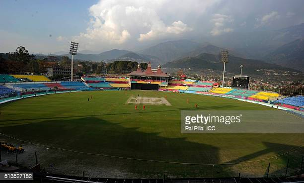 General View of the Dharamsala Stadium one of the venues for the ICC Twenty20 World Cup 2016 on March 3 2016 in Dharamsala India
