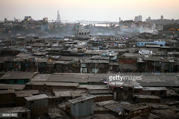 """General view of the Dharavi slum, said to be """"Asia's largest slum"""", April 2008 in Mumbai, India. A city redevelopment program to convert this prime..."""
