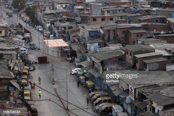 General view of the Dharavi slums is seen during a lockdown imposed by the government to prevent the spread of the Coronavirus pandemic on April 11,...
