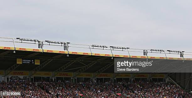 General view of the DHL stand during the Aviva Premiership match between Harlequins and Saracens at Twickenham Stoop on September 24 2016 in London...