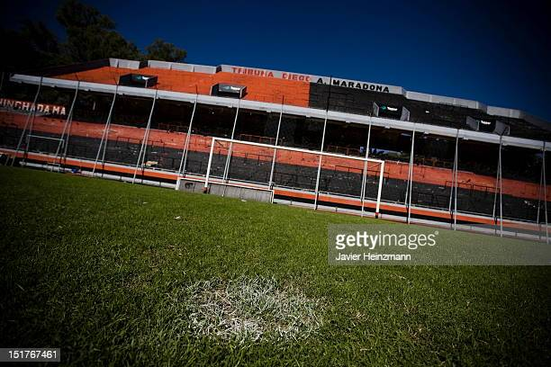 General view of the Diego Maradona terraces at the Marcelo Bielsa Stadium of Newell´s Old Boys on April 26 in Rosario Argentina Barcelona´s Lionel...
