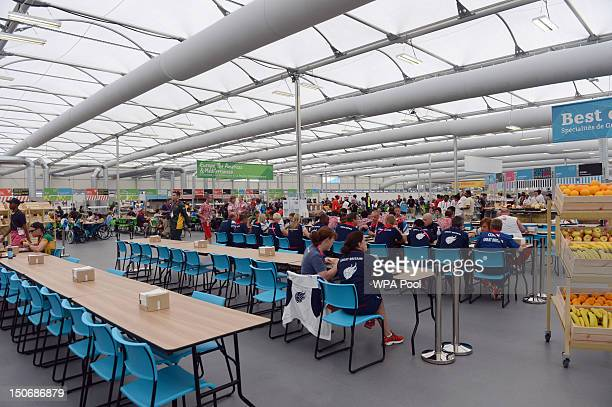 A general view of the dining hall as Prime Minister David Cameron has lunch with members of the Great Britain Paralympics football team during a...