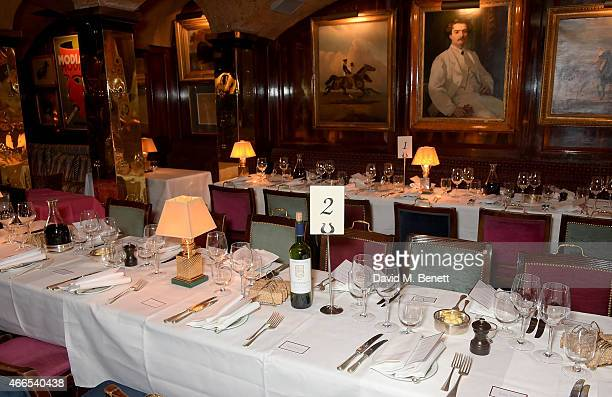 A general view of the dinner hosted by Olivier Rousteing to mark the opening of Balmain's first London store at Annabel's on March 16 2015 in London...