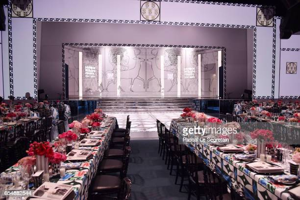 General view of the dinner room prior the Rose Ball 2017 To Benefit The Princess Grace Foundation at Sporting MonteCarlo on March 18 2017 in...