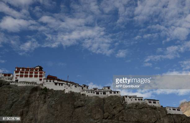 A general view of the Diskit monastery in the Nubra Valley in India's Ladakh region near the Chinese border on July 12 2017 China and India have...