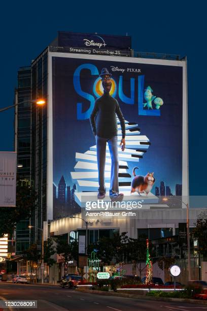 General view of the Disney+ skyscraper billboard above Sunset Plaza, promoting the new Pixar film 'Soul' on December 22, 2020 in Hollywood,...
