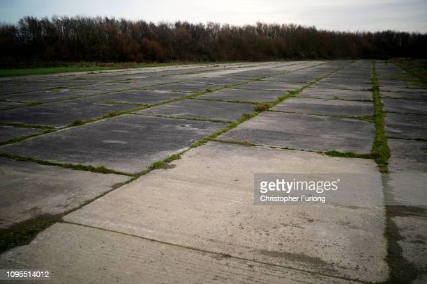 General view of the disused airport apron next to RAF Mona on Anglesey which will be used as a Brexit truck and transport backlog holding area in the...