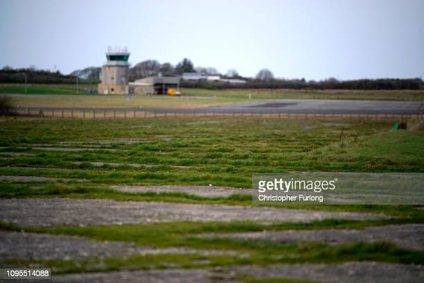A general view of the disused airport apron next to RAF Mona on Anglesey which will be used as a Brexit truck and transport backlog holding area in...