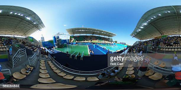 A general view of the Diving and Water Polo pools on Day 8 of the 2016 Rio Olympics on August 13 2016 in Rio de Janeiro Brazil