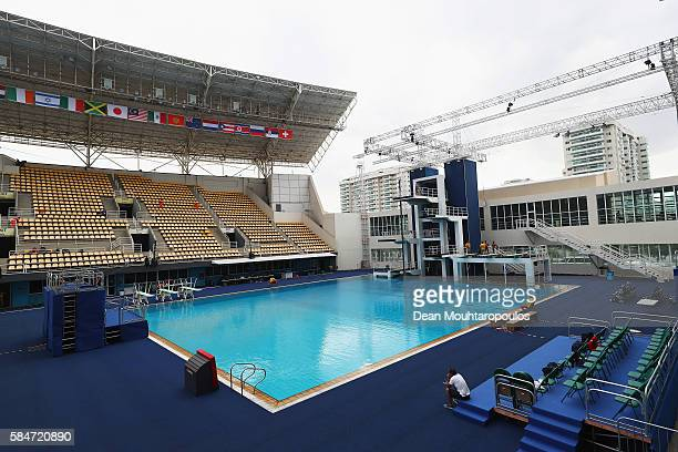 General view of the diving board and pool during the Olympics preview day - 6 in The Maria Lenk Aquatics Centre at the Barra Olympic Park on July 30,...