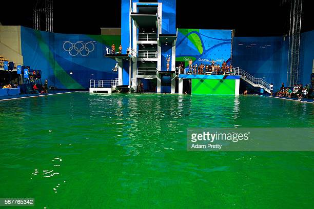 General view of the diving pool at Maria Lenk Aquatics Centre on Day 4 of the Rio 2016 Olympic Games on August 9 2016 in Rio de Janeiro Brazil