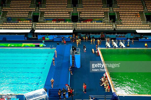 General view of the diving pool at Maria Lenk Aquatics Centre on Day 4 of the Rio 2016 Olympic Games at Maria Lenk Aquatics Centre on August 9 2016...