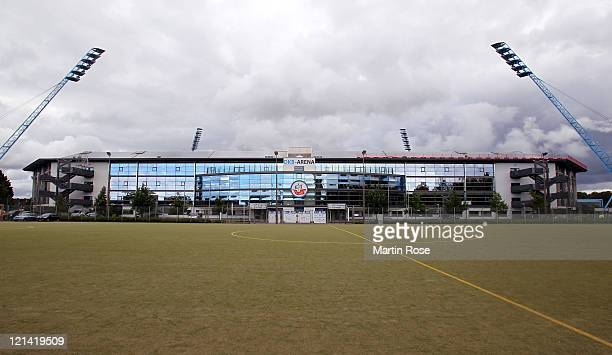 A general view of the DKB Arena before the Second Bundesliga match between FC Hansa Rostock and Alemannia Aachen at DKB Arena on August 19 2011 in...