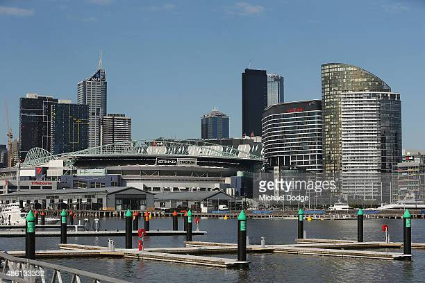 A general view of the Docklands Precinct is seen looking over to Channel Seven Studio and Etihad Stadium on August 24 2015 in Melbourne Australia