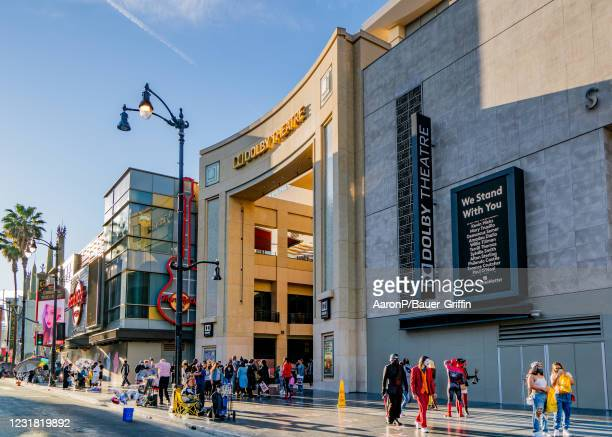 General view of the Dolby Theatre, home of the Oscars on Hollywood Blvd on March 19, 2021 in Hollywood, California.