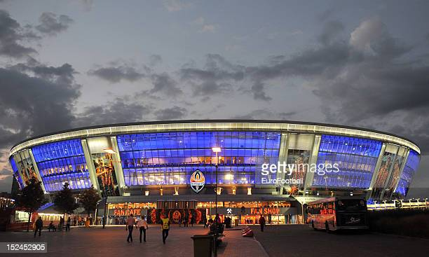 General view of the Donbass Arena home of FC Shakhtar Donetsk taken during the UEFA Champions League group stage match between FC Shakhtar Donetsk...