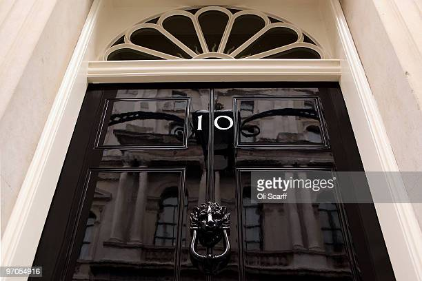 General view of the door for Number 10 Downing Street on February 25, 2010 in London, England. As the UK gears up for one of the most hotly contested...