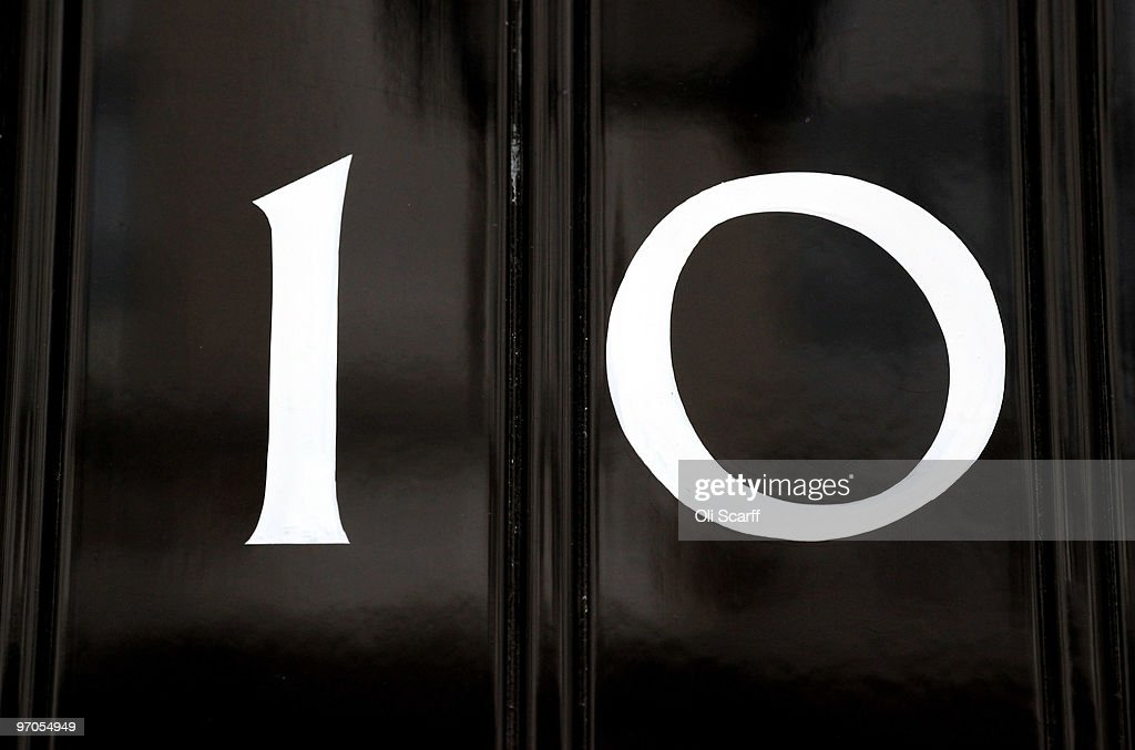 A general view of the door for Number 10 Downing Street on February 25, 2010 in London, England. As the UK gears up for one of the most hotly contested general elections in recent history it is expected that that the economy, immigration, the NHS and education are likely to form the basis of many of the debates.