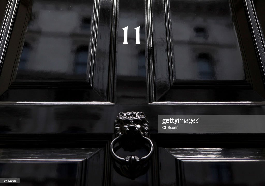 A general view of the door for Number 11 Downing Street, the residence of the Chancellor of the Exchequer, on March 4, 2010 in London, England. As the UK gears up for one of the most hotly contested general elections in recent history it is expected that that the economy, immigration, the NHS and education are likely to form the basis of many of the debates.