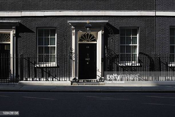 General view of the door to number 10 Downing Street on August 16, 2010 in London, England.
